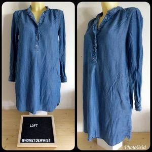 • Ann Taylor LOFT • Chambray Mini Dress/Tunic